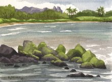 North Lydgate Beach - Hawaiian Artwork by Emily Miller