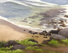 Kauai Artwork by Hawaii Artist Emily Miller - Donkey Beach shallows