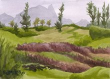Kauai watercolor artwork by Hawaii Artist Emily Miller - Mountain View from Donkey Beach