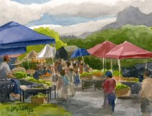 Kauai watercolor artwork by Hawaii Artist Emily Miller - Kapaa Farmers Market