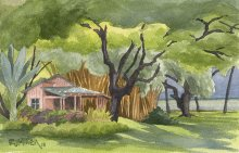 Kauai watercolor artwork by Hawaii Artist Emily Miller - Approaching Storm at Waimea Plantation Cottages