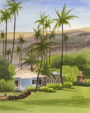 Waimea Plantation Cottage and Hills - Hawaii watercolor by Emily Miller