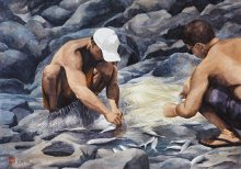 Net Fishers - Hawaii watercolor by Emily Miller