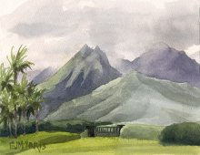 Kauai watercolor artwork by Hawaii Artist Emily Miller - Hanalei Mountains from Po'oku