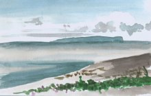 Kauai watercolor artwork by Hawaii Artist Emily Miller - View of Niihau from Waimea Black Sand Beach - Pochade Challenge
