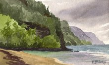 Ke'e Beach lagoon - Hawaii watercolor by Emily Miller