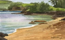 Anini Beach afternoon - Hawaii watercolor by Emily Miller