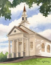 Plein Air at Old Koloa Church - Hawaii watercolor by Emily Miller