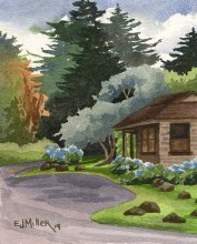 Kauai watercolor artwork by Hawaii Artist Emily Miller - Kokee State Park Headquarters