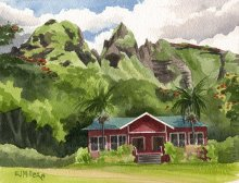 Kauai Artwork by Hawaii Artist Emily Miller - Morning at Anahola Baptist Church