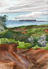 Kauai watercolor artwork by Hawaii Artist Emily Miller - View of Niihau from Waimea Canyon