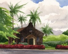 Kilauea Stone Church - Hawaii watercolor by Emily Miller