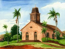 Waimea United Church of Christ, Kauai - Hawaii watercolor by Emily Miller