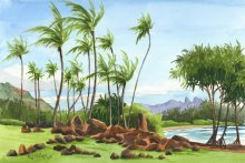 Hikinaakala Heiau - Hawaii watercolor by Emily Miller