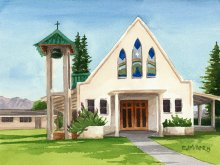 Kapaa First Hawaiian Church - Hawaii watercolor by Emily Miller