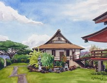 Koloa Jodo Mission - Hawaii watercolor by Emily Miller