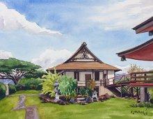 Koloa Jodo Mission - Hawaii watercolor by Emily Miller