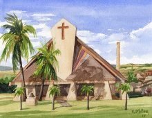St. Theresa's, Kekaha - Hawaii watercolor by Emily Miller