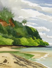 Anini Stream - Hawaii watercolor by Emily Miller