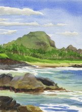 Kauai Artwork by Hawaii Artist Emily Miller - Mt. Haupu from Poipu