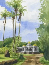 Iraivan Hindu Temple, Kauai - Hawaii watercolor by Emily Miller
