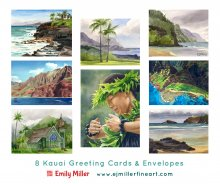 Kauai Artwork by Hawaii Artist Emily Miller - Greeting card set - Hawaii