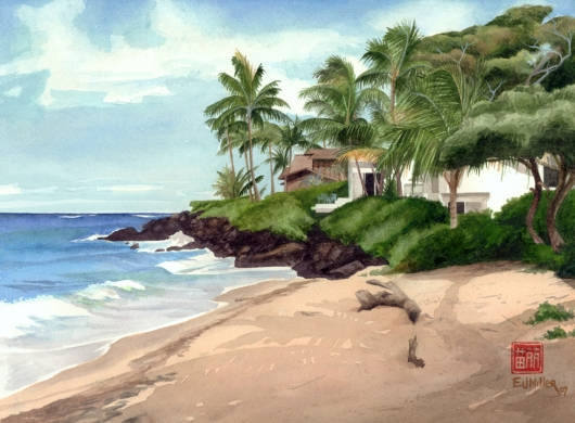 Kauai Artwork by Hawaii Artist Emily Miller - Poipu Surf Spot