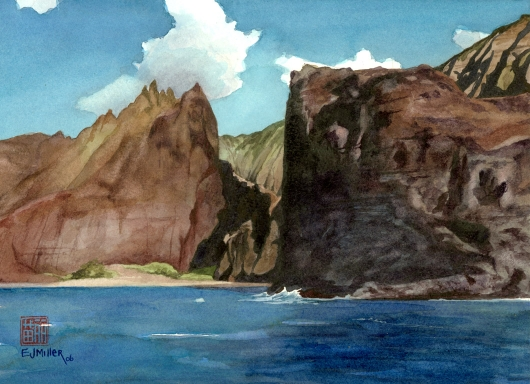 Na Pali Sea Cliff, Makai — Kauai beaches - na pali, beach, ocean, cliffs, honopu artwork by Emily Miller