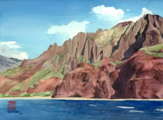 Na Pali Coast, Kalalau Kauai watercolor painting - Artist Emily Miller's Hawaii artwork of kalalau, beach, ocean, cliffs, na pali art