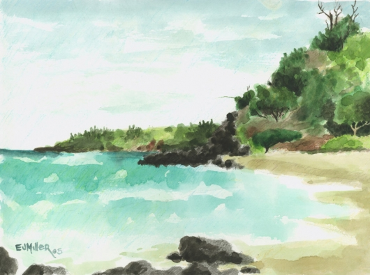 Plein Air at Kaluakai Beach Kauai watercolor painting - Artist Emily Miller's Hawaii artwork of beach, ocean, kilauea art