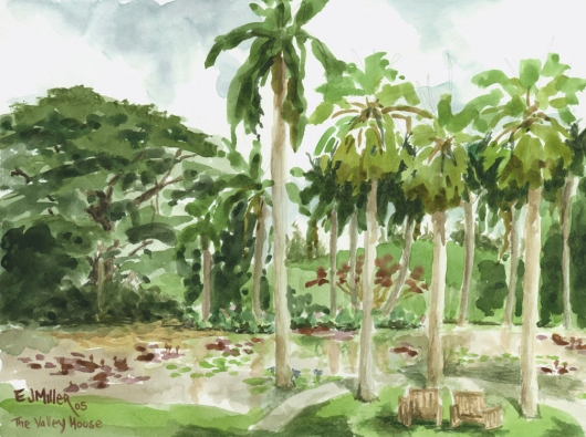 Plein Air at The Valley House Kauai watercolor painting - Artist Emily Miller's Hawaii artwork of palms, palm trees art