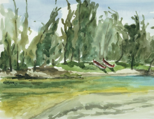 Plein Air at Hanalei River Kauai watercolor painting - Artist Emily Miller's Hawaii artwork of hanalei, river, beach, canoe, boat art