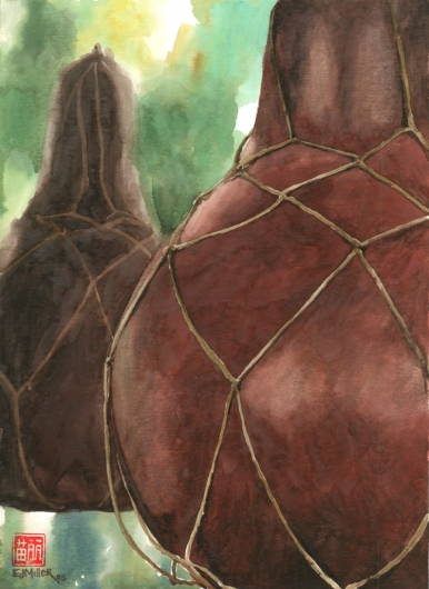 Gourd Net Hawele Kauai watercolor painting - Artist Emily Miller's Hawaii artwork of gourd, ipu, net art