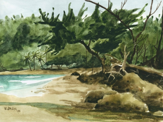 Plein Air at Moloaa Beach Kauai watercolor painting - Artist Emily Miller's Hawaii artwork of beach, ocean, moloaa, stream art