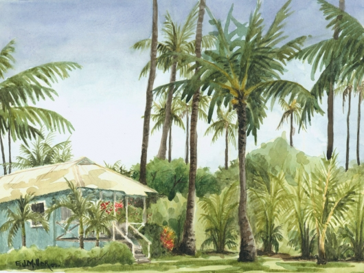 Blue Cottage Kauai watercolor painting - Artist Emily Miller's Hawaii artwork of palm trees, house, waimea plantation cottages, waimea art