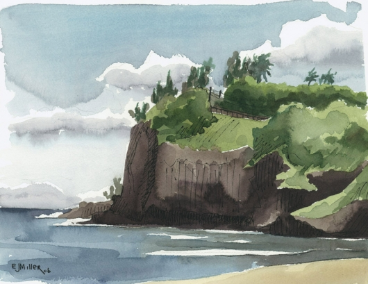 Kalihiwai Beach and Cliffs, Plein Air Kauai watercolor painting - Artist Emily Miller's Hawaii artwork of ocean, cliffs, beach art