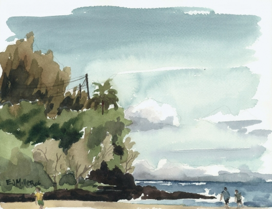 Kalihiwai Beach river mouth, Plein Air Kauai watercolor painting - Artist Emily Miller's Hawaii artwork of ocean, beach art