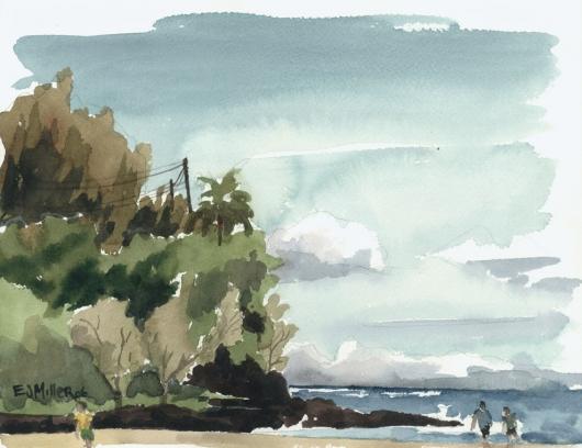 Kalihiwai Beach river mouth, Plein Air, 2006