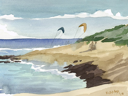 Windsurfers at Mahaulepu, plein air, Makai — Kauai beaches - mahaulepu, beach, ocean, windsurfers, poipu artwork by Emily Miller