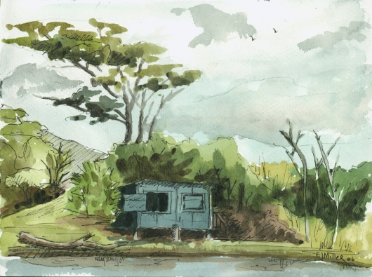 Plein Air, Waita Reservoir fishing shack Kauai watercolor painting - Artist Emily Miller's Hawaii artwork of  art