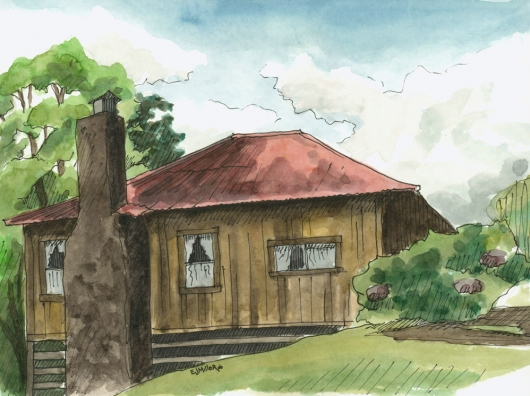 Plein Air, Kokee Cabin 2 Kauai watercolor painting - Artist Emily Miller's Hawaii artwork of house, kokee art