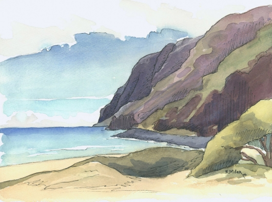 Plein Air at Polihale Kauai watercolor painting - Artist Emily Miller's Hawaii artwork of polihale, cliffs, na pali, ocean, beach art