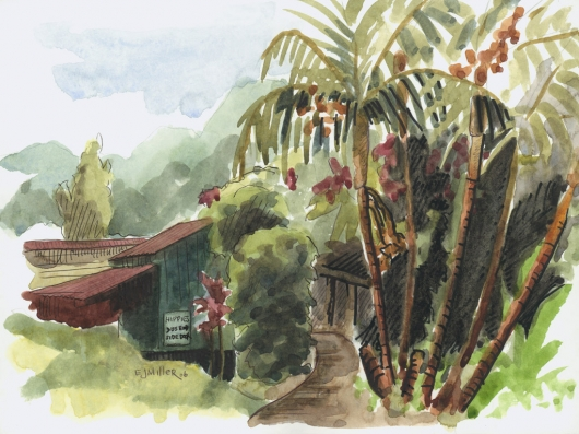 Plein Air, Kalihiwai Cottage Kauai watercolor painting - Artist Emily Miller's Hawaii artwork of palm trees, house art