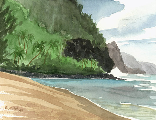 Plein Air at Kee Beach, Makai — Kauai beaches - ke'e beach, haena, palm trees, cliffs, na pali, ocean, beach artwork by Emily Miller