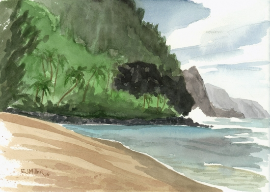 Plein Air at Kee Beach Kauai watercolor painting - Artist Emily Miller's Hawaii artwork of ke'e beach, haena, palm trees, cliffs, na pali, ocean, beach art