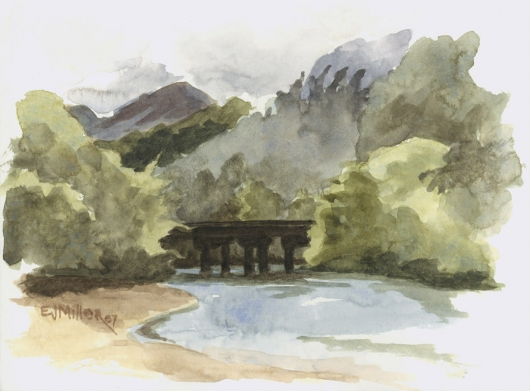 Bridge over Lumahai Stream, Plein Air Kauai watercolor painting - Artist Emily Miller's Hawaii artwork of beach, mountains, bridge, river art