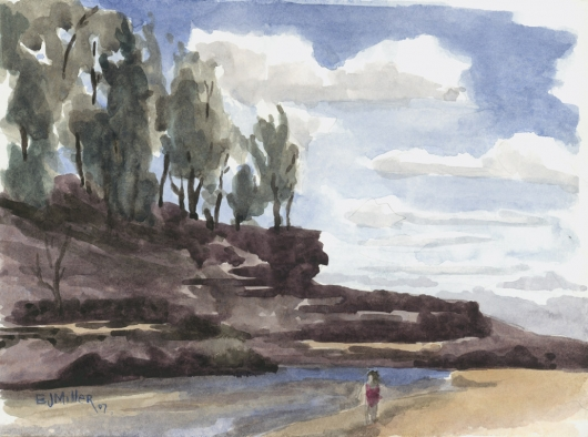 Plein Air at Lumahai Beach Kauai watercolor painting - Artist Emily Miller's Hawaii artwork of beach, river, rocks art