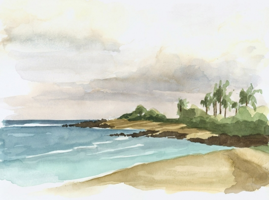 Plein Air at Wailua Kai Kauai watercolor painting - Artist Emily Miller's Hawaii artwork of beach, ocean, kapaa art