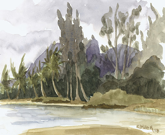 Plein Air at Anahola Beach Kauai watercolor painting - Artist Emily Miller's Hawaii artwork of kalalea, river, anahola, beach, ocean art