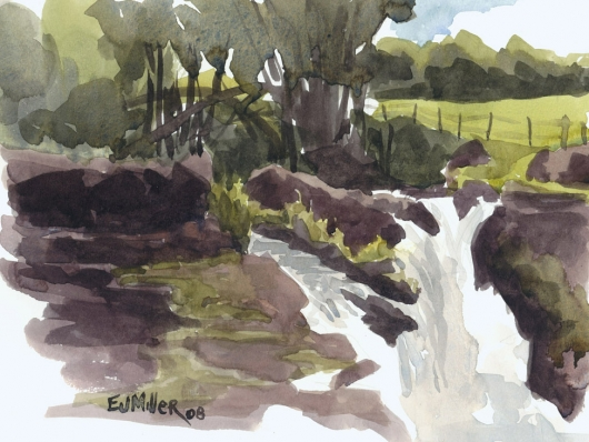 Plein Air at Hoopii Falls Kauai watercolor painting - Artist Emily Miller's Hawaii artwork of waterfall, kapaa art